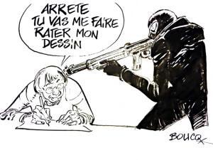 Arrête tu vas me faire rater mon dessin Cabu Charlie Hebdo Boucq