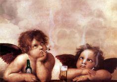 Raphael sistine agels cherub smoking