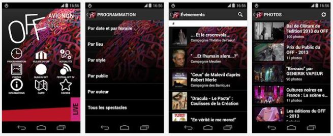 Application mobile Android iPhone Festival d'Avignon OFF 2015 programme