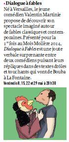 Dialogue à Fables Versailles Magazine mai 2015