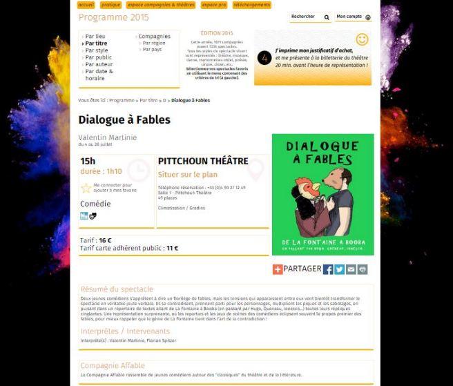 Programme en ligne Festival d'Avignon OFF 2015 Dialogue à Fables