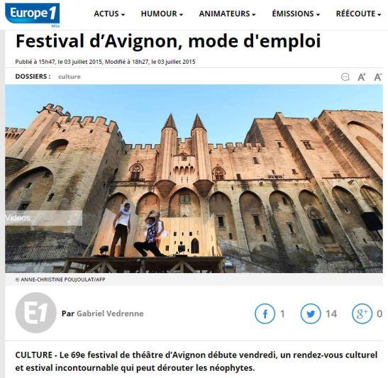 Europe 1 reprend l'article de La Compagnie Affable sur le Festival d'Avignon