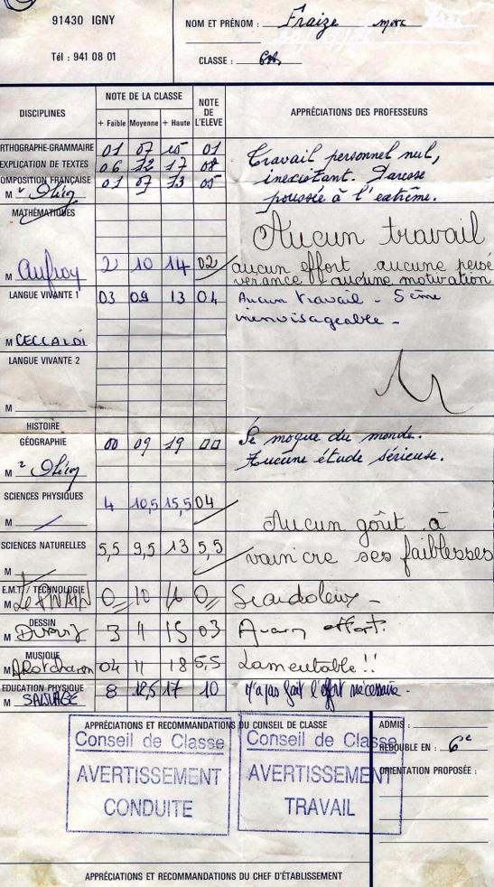 Monsieur Fraize Bulletin Scolaire