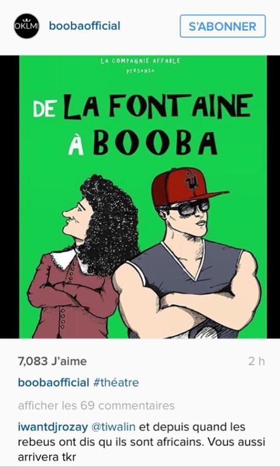DE LA FONTAINE A BOOBA Instagram Booba