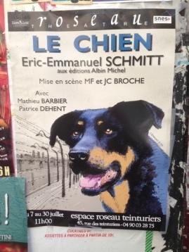 Le Chien Eric-Emmanuel Schmidt affiche Festival Avignon OFF 2016 Espace Roseau
