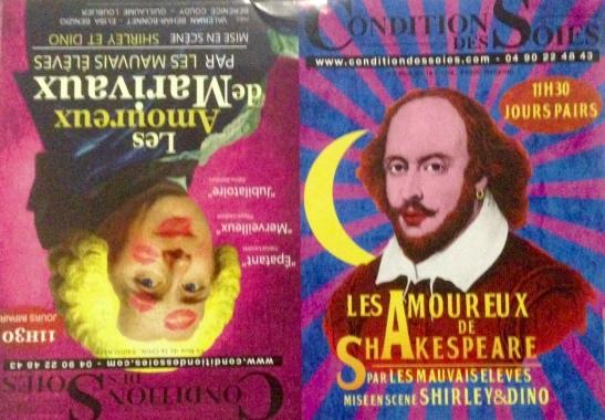Les Amoureux de Shakespeare Les Amoureux de Marivaux Les Mauvais Elèves Shirley et Dino affiche Festival Avignon OFF 2016.jpg