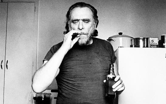 Charles Bukowski smoking drinking beer