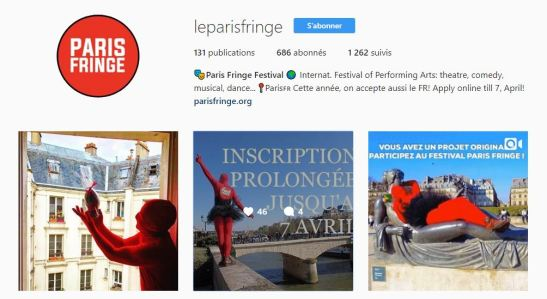 Paris Fringe Instagram