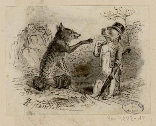 Le Loup et le Chien illustration Grandville