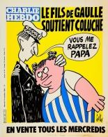 Le fils De Gaulle soutient Coluche couverture de Charlie Hebdo (1980)